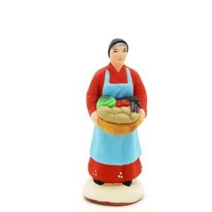 santon peint à la main femme aux légumes
