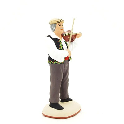 santon de provence peint à la main violoniste profil