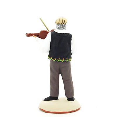 santon de provence peint à la main violoniste dos