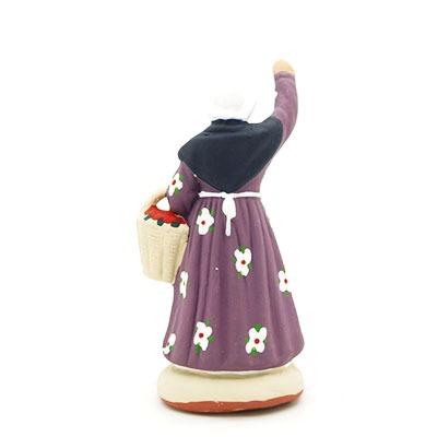La cueilleuse de fruits santon de Provence peint à la main dos