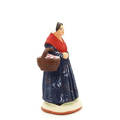 Santon de Provence la commere au panier peint à la main profil