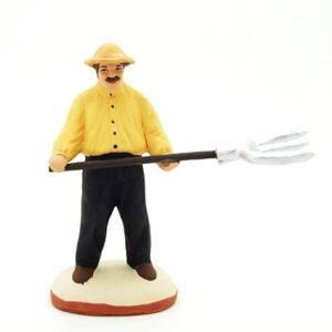 Homme à la fourche santon de provence peint à la main