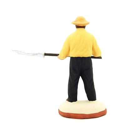 Homme à la fourche santon de provence peint à la main dos