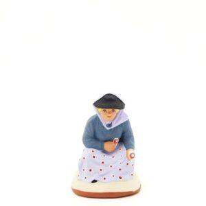 Santon de Provence peint à la main cueilleuse assie
