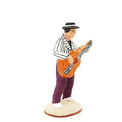 Homme à la guitare santon peint à la main profil