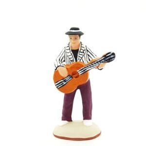 Homme à la guitare santon peint à la main