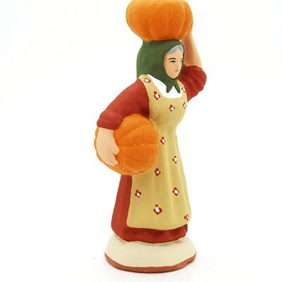 santon de provence peint à la main femme à la courge profil