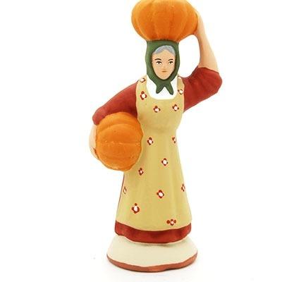 santon de provence peint à la main femme à la courge