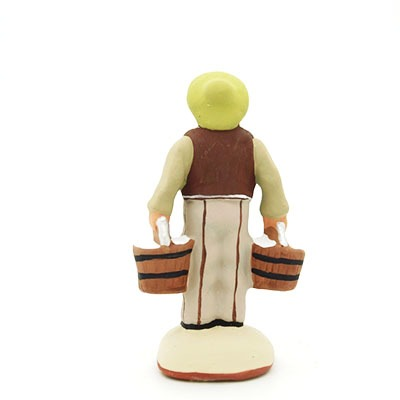 Le porteur d'eau - santon de Provence peint à la main dos