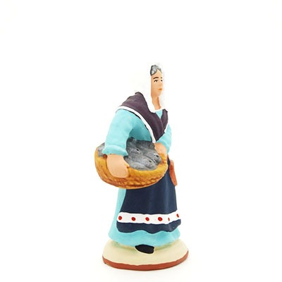 santon de provence peint à la main Poissonnière profil