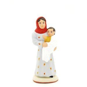 santon peint à la main femme à l'enfant