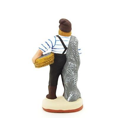 santon de provence peint à la main pecheur debout dos