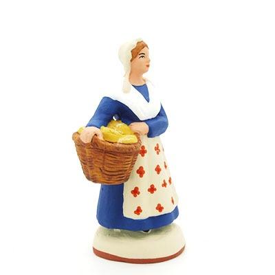 santon de provence peint mains la boulangere profil