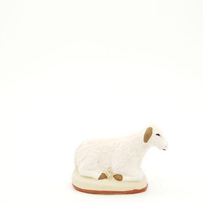 mouton couché mou santon de Provence peint à la main profil