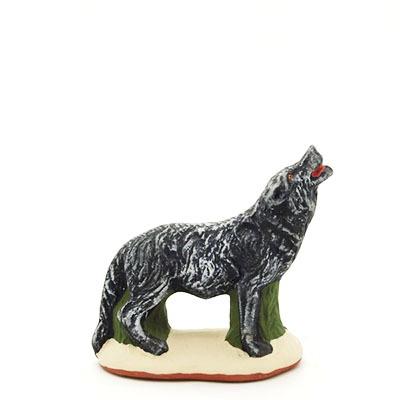 santon de Provence peint à la main loup profil