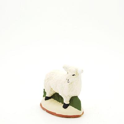 santon de Provence mouton debout tête droite peint à la main profil