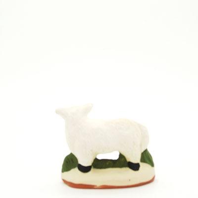 santon de Provence mouton debout tête droite peint à la main dos