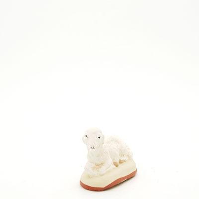 santon de Provence peint à la main mouton couché pré