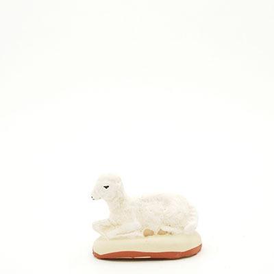 santon de Provence peint à la main mouton couché pré profil