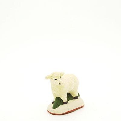 santon de Provence agneau debout tête gauche peint à la main profil