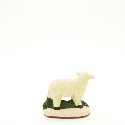 santon de Provence agneau debout tête gauche peint à la main dos