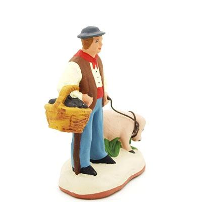 Le ramasseur de truffes - santon de Provence peint à la main profil