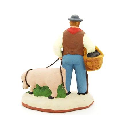 Le ramasseur de truffes - santon de Provence peint à la main dos