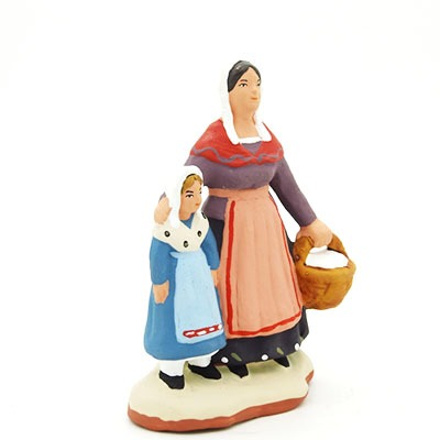 santon peint à la main femme et fille profil