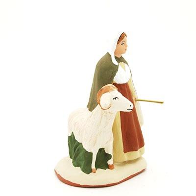 santon peint à la main femme et sa chèvre profil