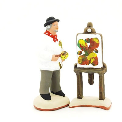 santon de provence peint à la main chevalet peintre profil