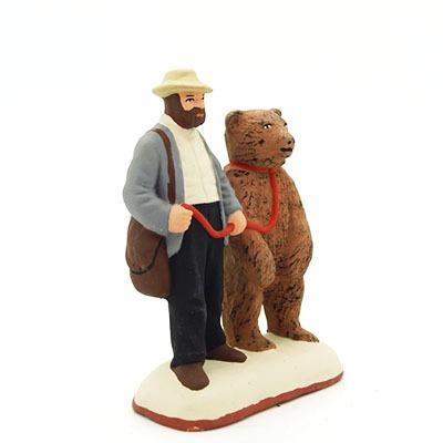santon de provence l'homme et l'ours peint à la main profil