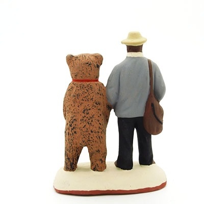 santon de provence l'homme et l'ours peint à la main dos
