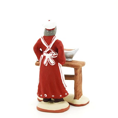santon de provence peint à la main chocolatière dos
