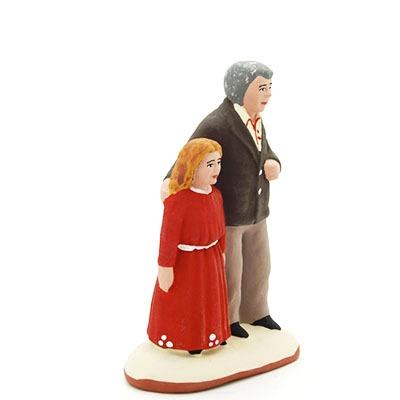 santon de provence peint à la main papa et sa fille profil
