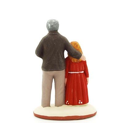 santon de provence peint à la main papa et sa fille dos