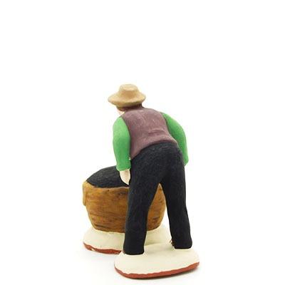 santon de provence ramasseur d'olives et son sac peint à la main dos