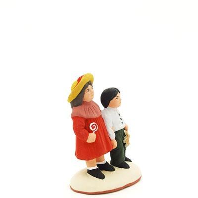 santon de provence peint à la main couple d'enfants profil