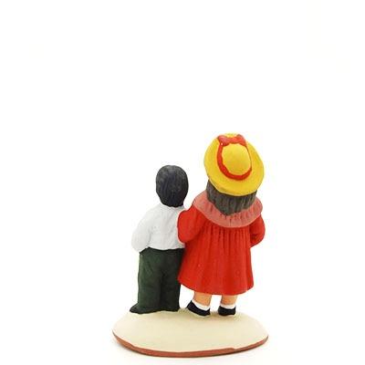 santon de provence peint à la main couple d'enfants dos