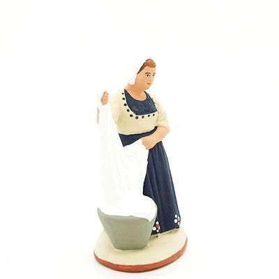 santon de provence peint à la main lavandiere profil