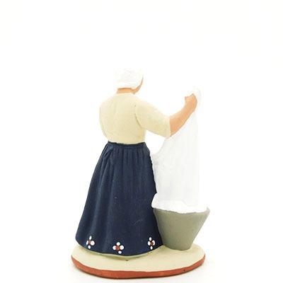 santon de provence peint à la main lavandiere dos