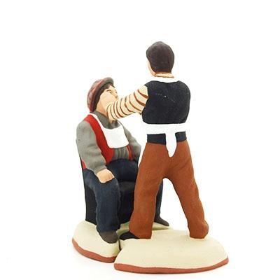 Arracheur de dents et son client santon de provence peint à la main dos