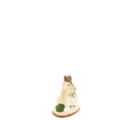 santon de provence biquette couchee peinte a la main profil