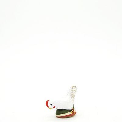 santon de provence peint a la main poule qui picore profil