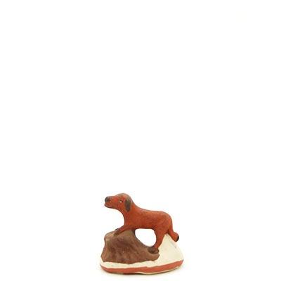 santon de provence peint a la main chien debout profil