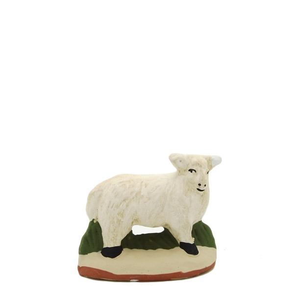 santon de Provence mouton debout tête droite peint à la main