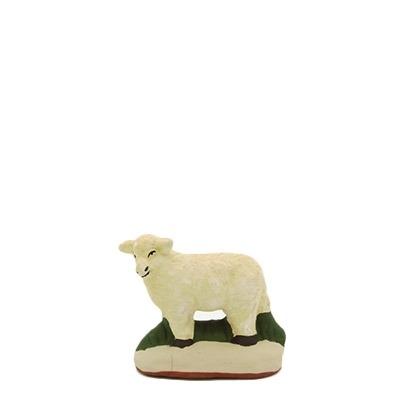 santon de Provence agneau debout tête gauche peint à la main