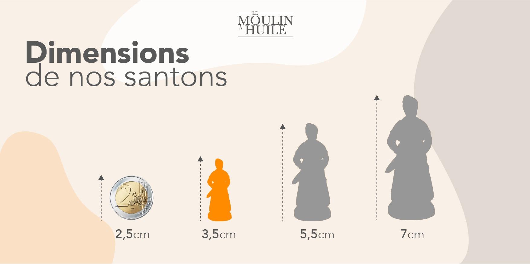 Dimensions santons de Provence 3,5cm - Le Moulin à Huile