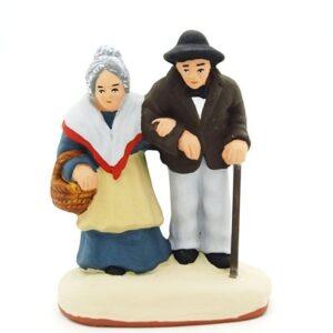 Vieux Gracet et Gracette santon de provence peint à la main