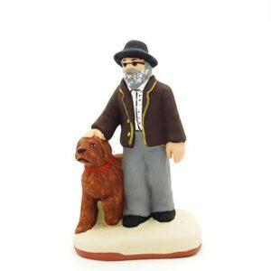 Santon peint à la main L'aveugle et son chien