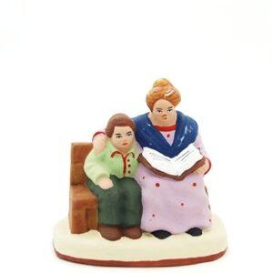 santon de provence la liseuse et l'enfant peint à la main